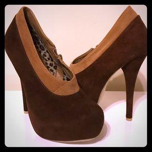 Shoes - Brown Velvet Platform High Heel Booties DbDk